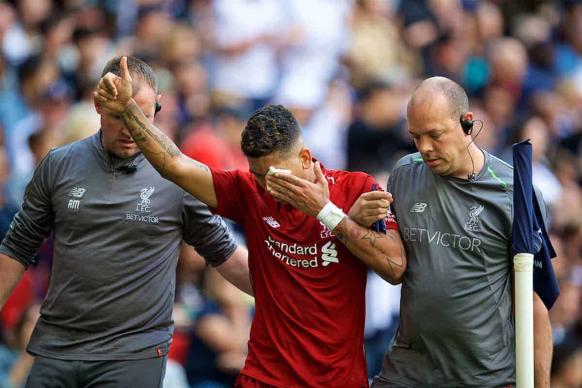 LONDON, ENGLAND - Saturday, September 15, 2018: Liverpool's Roberto Firmino goes off injured after being struck in the face during the FA Premier League match between Tottenham Hotspur FC and Liverpool FC at Wembley Stadium. (Pic by David Rawcliffe/Propaganda)