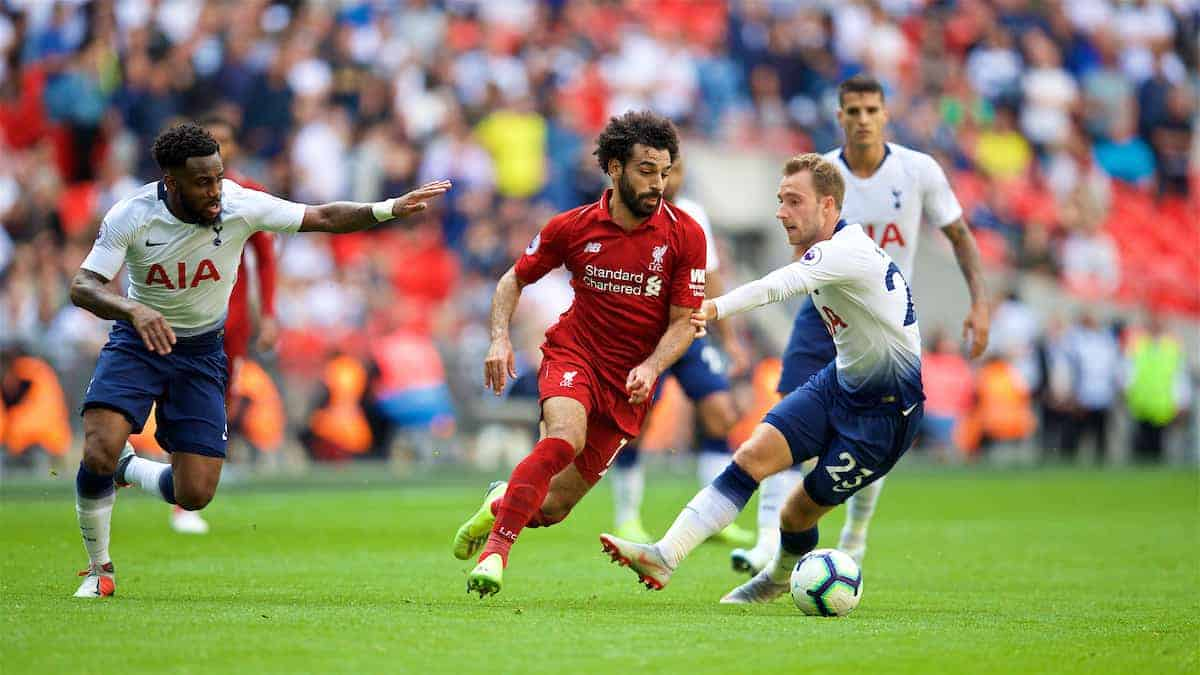 LONDON, ENGLAND - Saturday, September 15, 2018: Tottenham Hotspur's Danny Rose (left), Tottenham Hotspur's Christian Eriksen (right) and Liverpool's Mohamed Salah (centre) and during the FA Premier League match between Tottenham Hotspur FC and Liverpool FC at Wembley Stadium. (Pic by David Rawcliffe/Propaganda)