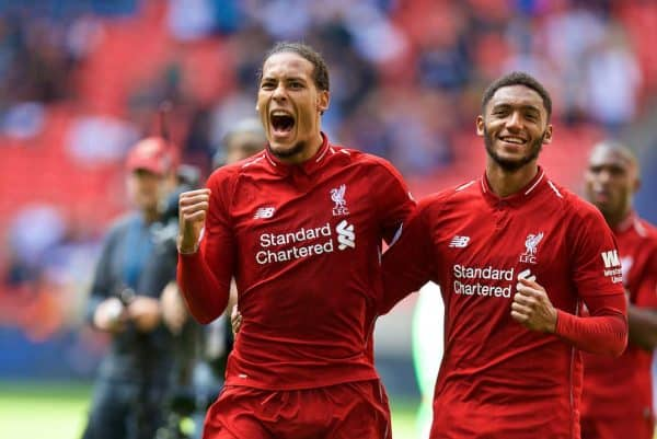 LONDON, ENGLAND - Saturday, September 15, 2018: Liverpool's Virgil van Dijk and Joe Gomez celebrate after the FA Premier League match between Tottenham Hotspur FC and Liverpool FC at Wembley Stadium. Liverpool won 2-1. (Pic by David Rawcliffe/Propaganda)