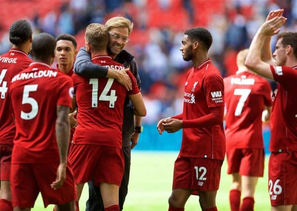 LONDON, ENGLAND - Saturday, September 15, 2018: Liverpool's manager Jürgen Klopp embraces captain Jordan Henderson as they celebrate after the FA Premier League match between Tottenham Hotspur FC and Liverpool FC at Wembley Stadium. Liverpool won 2-1. (Pic by David Rawcliffe/Propaganda)