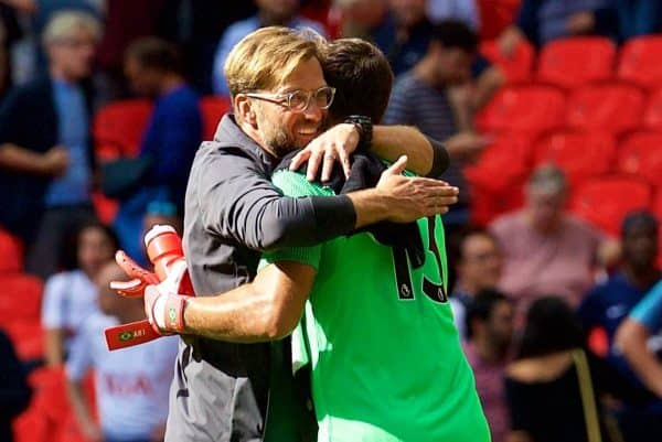 LONDON, ENGLAND - Saturday, September 15, 2018: Liverpool's manager J¸rgen Klopp embraces goalkeeper Alisson Becker during the FA Premier League match between Tottenham Hotspur FC and Liverpool FC at Wembley Stadium. Liverpool won 2-1. (Pic by David Rawcliffe/Propaganda)