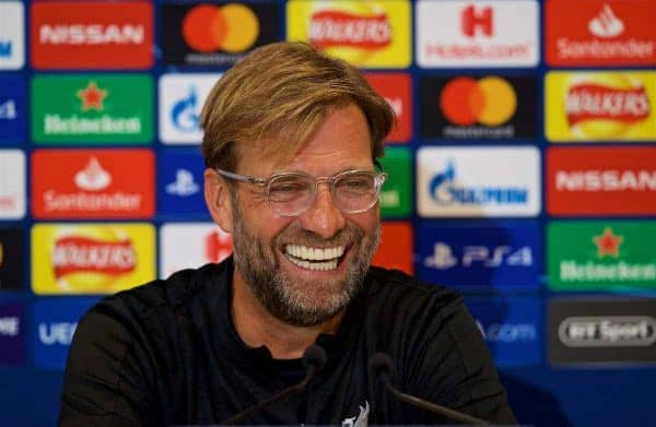 LIVERPOOL, ENGLAND - Monday, September 17, 2018: Liverpool's manager Jürgen Klopp during a press conference ahead of the UEFA Champions League Group C match between Liverpool FC and Paris Saint-Germain at Anfield. (Pic by David Rawcliffe/Propaganda)