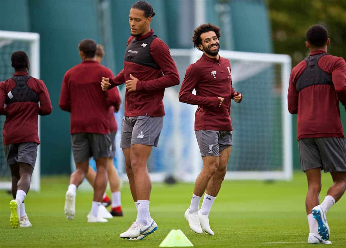 LIVERPOOL, ENGLAND - Monday, September 17, 2018: Liverpool's Virgil van Dijk (left) and Mohamed Salah during a training session at Melwood Training Ground ahead of the UEFA Champions League Group C match between Liverpool FC and Paris Saint-Germain. (Pic by David Rawcliffe/Propaganda)