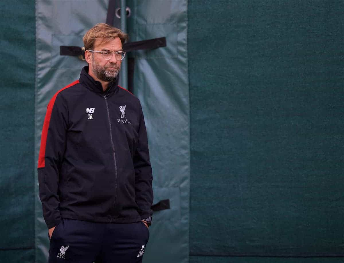 LIVERPOOL, ENGLAND - Monday, September 17, 2018: Liverpool's manager Jürgen Klopp during a training session at Melwood Training Ground ahead of the UEFA Champions League Group C match between Liverpool FC and Paris Saint-Germain. (Pic by David Rawcliffe/Propaganda)