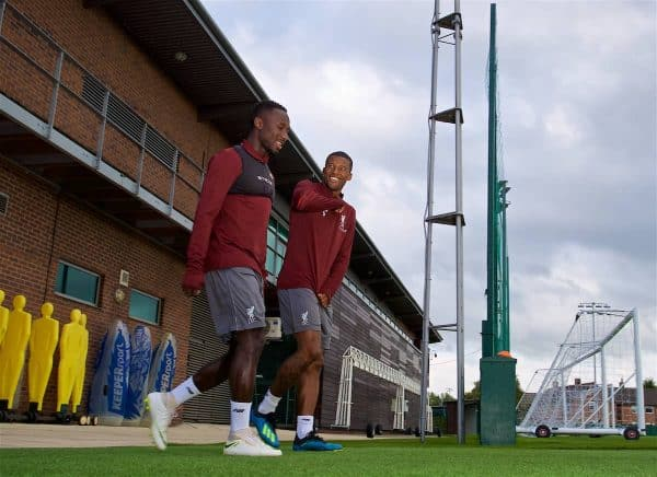 LIVERPOOL, ENGLAND - Monday, September 17, 2018: Liverpool's Naby Keita (left) and Georginio Wijnaldum during a training session at Melwood Training Ground ahead of the UEFA Champions League Group C match between Liverpool FC and Paris Saint-Germain. (Pic by David Rawcliffe/Propaganda)