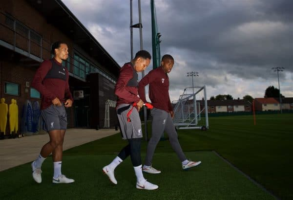 LIVERPOOL, ENGLAND - Monday, September 17, 2018: Liverpool's Virgil van Dijk (left), Nathaniel Clyne (centre) and Daniel Sturridge (right) during a training session at Melwood Training Ground ahead of the UEFA Champions League Group C match between Liverpool FC and Paris Saint-Germain. (Pic by David Rawcliffe/Propaganda)