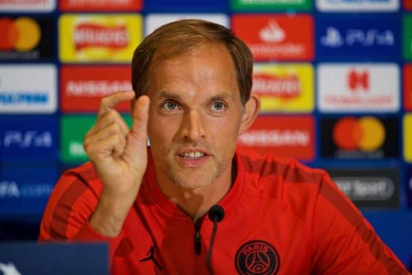 LIVERPOOL, ENGLAND - Monday, September 17, 2018: Paris Saint-Germain's head coach Thomas Tuchel during a press conference ahead of the UEFA Champions League Group C match between Liverpool FC and Paris Saint-Germain at Anfield. (Pic by David Rawcliffe/Propaganda)