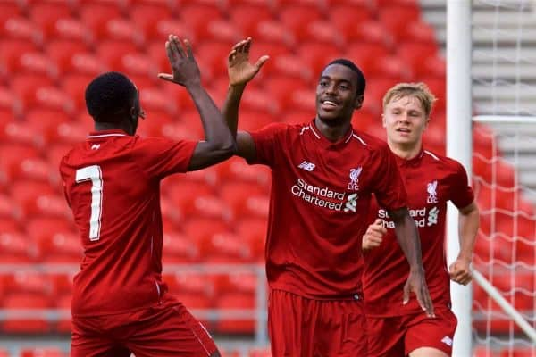 LIVERPOOL, ENGLAND - Tuesday, September 18, 2018: Liverpool's Rafael Camacho (centre) celebrates scoring the second goal with team-mates Bobby Adekanye (left) and Paul Glatzel (right) during the UEFA Youth League Group C match between Liverpool FC and Paris Saint-Germain at Langtree Park. (Pic by David Rawcliffe/Propaganda)