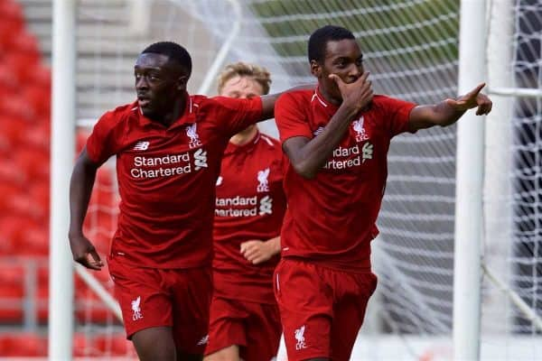 LIVERPOOL, ENGLAND - Tuesday, September 18, 2018: Liverpool's Rafael Camacho celebrates scoring the second goal with team-mate Bobby Adekanye (left) during the UEFA Youth League Group C match between Liverpool FC and Paris Saint-Germain at Langtree Park. (Pic by David Rawcliffe/Propaganda)