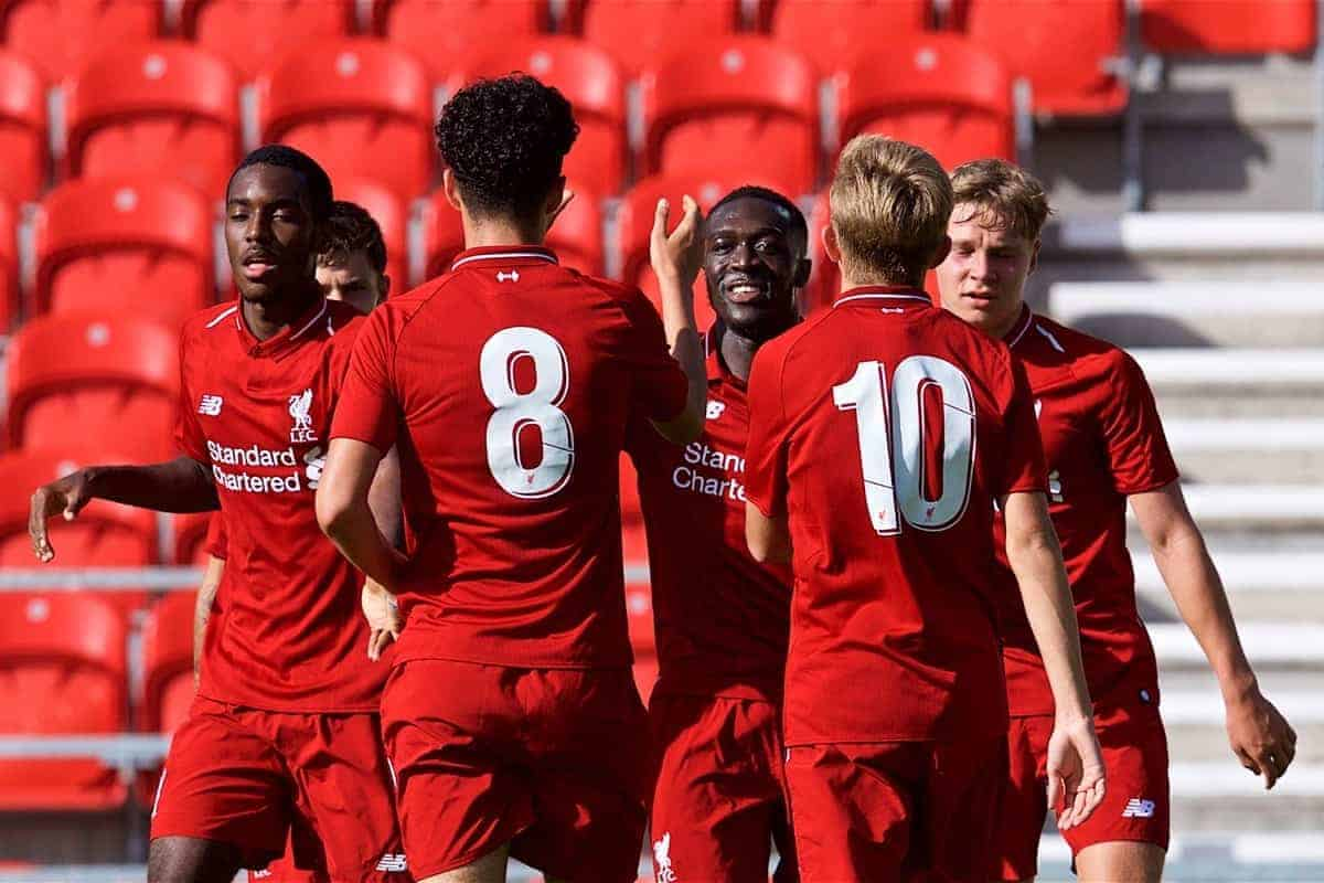 LIVERPOOL, ENGLAND - Tuesday, September 18, 2018: Liverpool's Bobby Adekanye (third from left) celebrates scoring the third goal with team-mates during the UEFA Youth League Group C match between Liverpool FC and Paris Saint-Germain at Langtree Park. (Pic by David Rawcliffe/Propaganda)