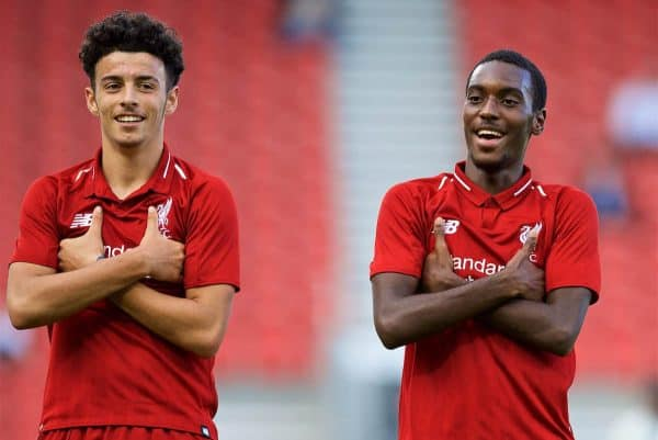 LIVERPOOL, ENGLAND - Tuesday, September 18, 2018: Liverpool's Rafael Camacho (right) celebrates scoring the fifth goal with team-mate Curtis Jones (left) during the UEFA Youth League Group C match between Liverpool FC and Paris Saint-Germain at Langtree Park. (Pic by David Rawcliffe/Propaganda)