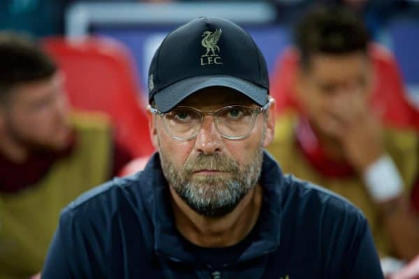 LIVERPOOL, ENGLAND - Tuesday, September 18, 2018: Liverpool's manager Jürgen Klopp during the UEFA Champions League Group C match between Liverpool FC and Paris Saint-Germain at Anfield. (Pic by David Rawcliffe/Propaganda)