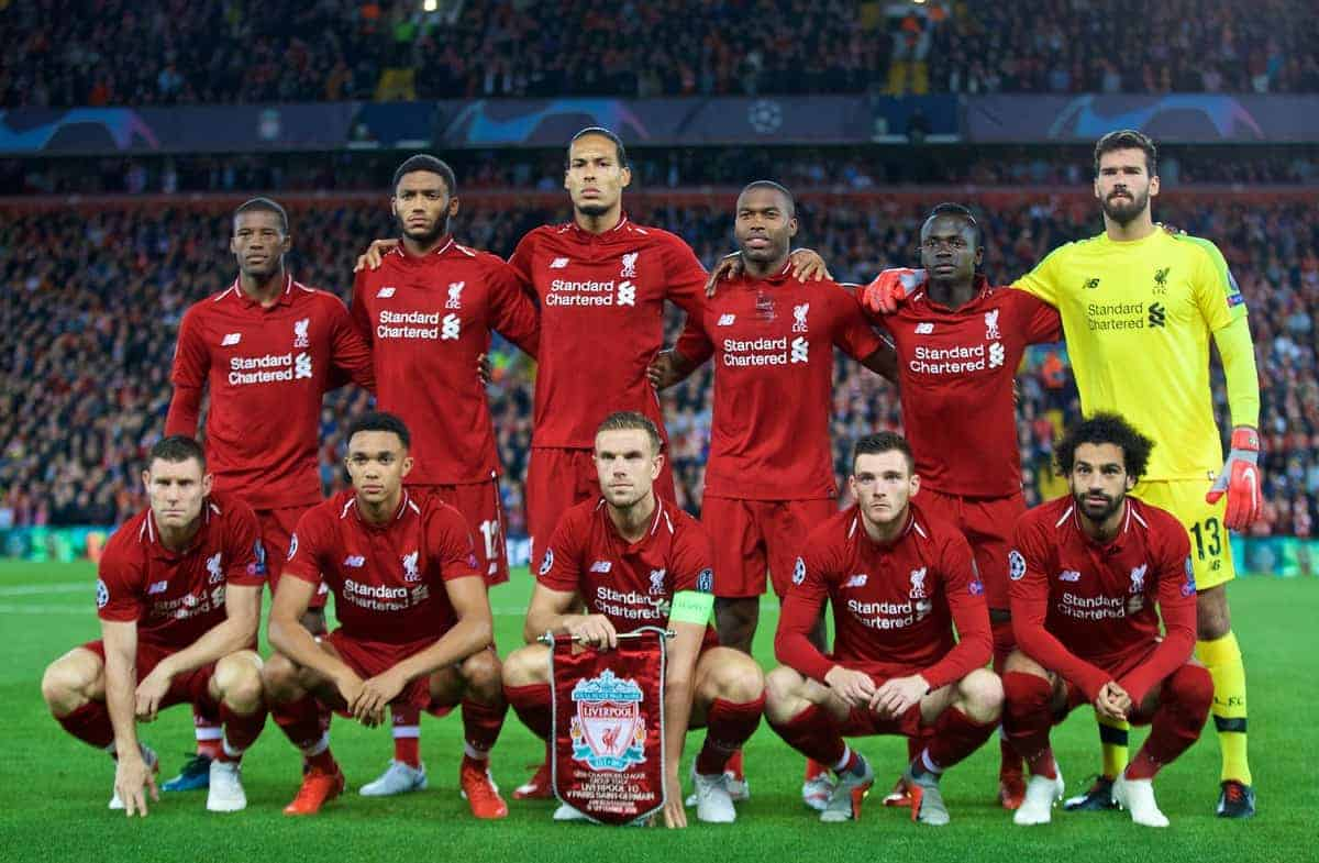 LIVERPOOL, ENGLAND - Tuesday, September 18, 2018: Liverpool's players line-up for a team group photograph before the UEFA Champions League Group C match between Liverpool FC and Paris Saint-Germain at Anfield. Back row L-R: Georginio Wijnaldum, Joe Gomez, Virgil van Dijk, Daniel Sturridge, Sadio Mane, goalkeeper Alisson Becker. Front row L-R: James Milner, Trent Alexander-Arnold, captain Jordan Henderson, Andy Robertson, Mohamed Salah. (Pic by David Rawcliffe/Propaganda)