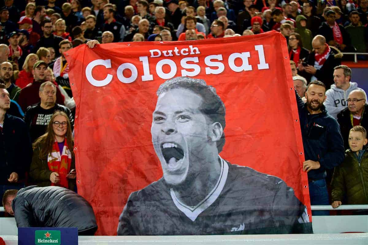 LIVERPOOL, ENGLAND - Tuesday, September 18, 2018: Liverpool supporters banner of Virgil van Dijk before the UEFA Champions League Group C match between Liverpool FC and Paris Saint-Germain at Anfield. (Pic by David Rawcliffe/Propaganda)