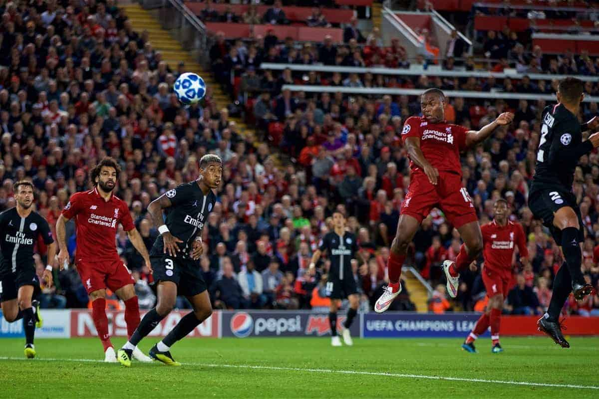 LIVERPOOL, ENGLAND - Tuesday, September 18, 2018: Liverpool's Daniel Sturridge scores the first goal during the UEFA Champions League Group C match between Liverpool FC and Paris Saint-Germain at Anfield. (Pic by David Rawcliffe/Propaganda)