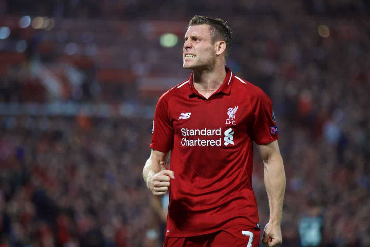 LIVERPOOL, ENGLAND - Tuesday, September 18, 2018: Liverpool's James Milner celebrates scoring the second goal from a penalty kick during the UEFA Champions League Group C match between Liverpool FC and Paris Saint-Germain at Anfield. (Pic by David Rawcliffe/Propaganda)