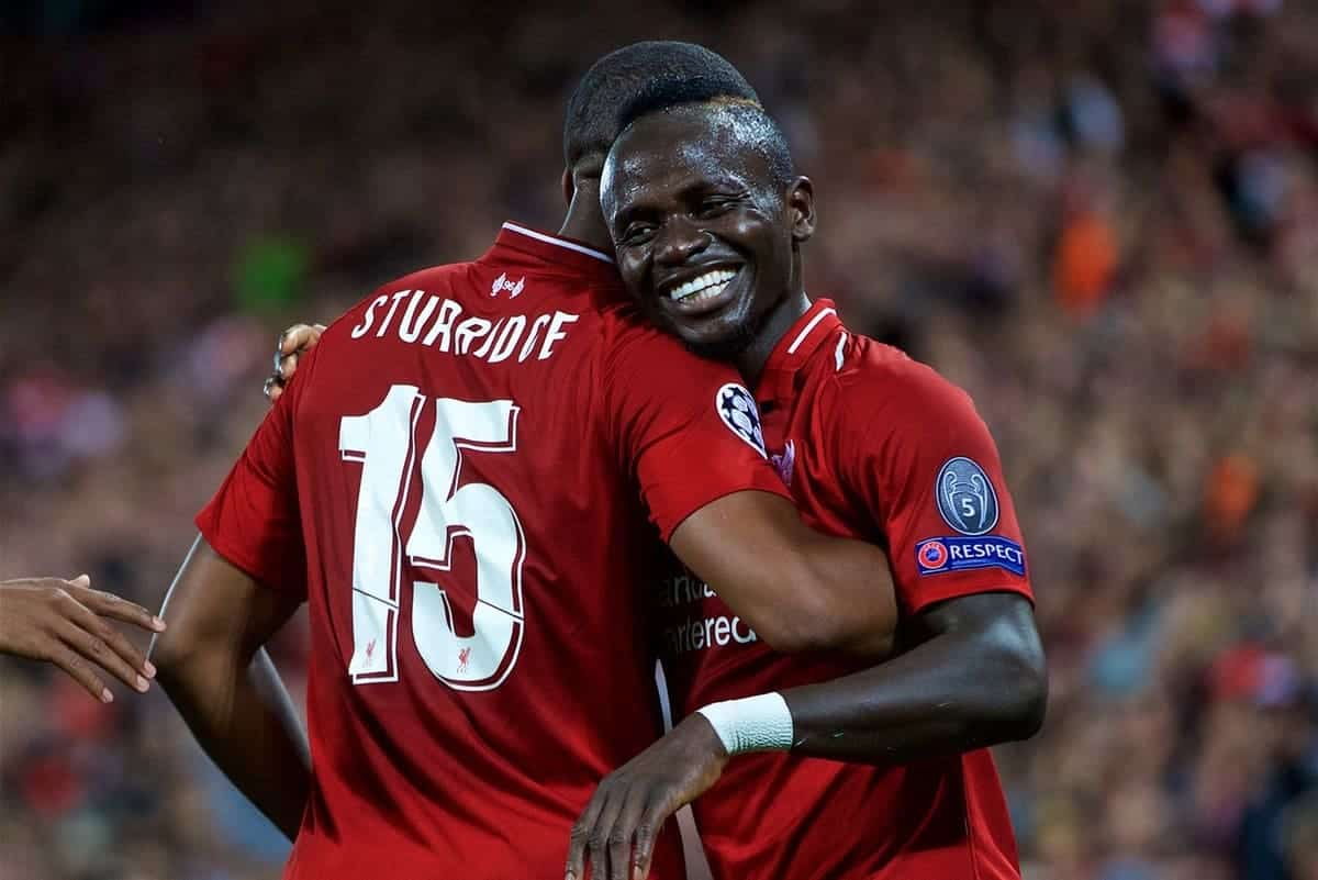 LIVERPOOL, ENGLAND - Tuesday, September 18, 2018: Liverpool's Daniel Sturridge celebrates scoring the first goal with team-mate Sadio Mane during the UEFA Champions League Group C match between Liverpool FC and Paris Saint-Germain at Anfield. (Pic by David Rawcliffe/Propaganda)