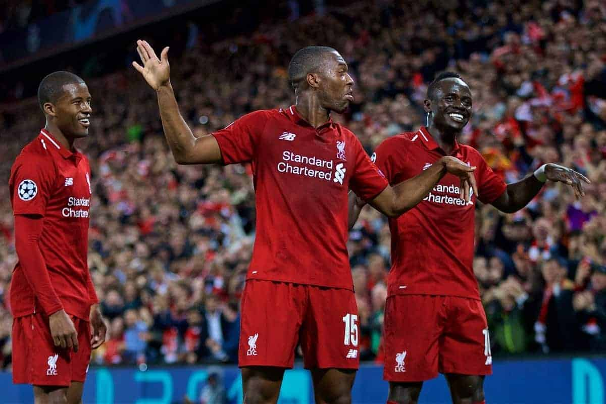 LIVERPOOL, ENGLAND - Tuesday, September 18, 2018: Liverpool's Daniel Sturridge (centre) celebrates scoring the first goal with team-mates Georginio Wijnaldum (left) and Sadio Mane (right)during the UEFA Champions League Group C match between Liverpool FC and Paris Saint-Germain at Anfield. (Pic by David Rawcliffe/Propaganda)