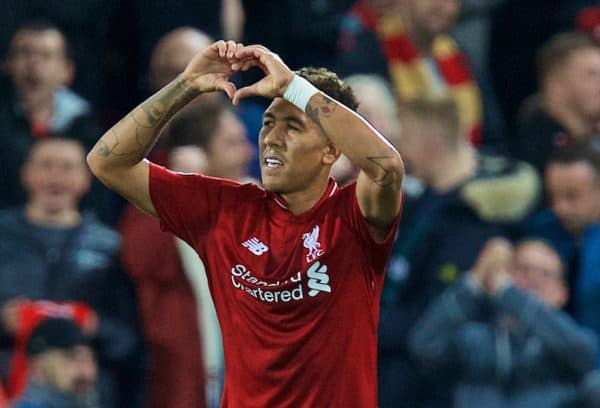 LIVERPOOL, ENGLAND - Tuesday, September 18, 2018: Liverpool's Roberto Firmino celebrates scoring the third goal during the UEFA Champions League Group C match between Liverpool FC and Paris Saint-Germain at Anfield. (Pic by David Rawcliffe/Propaganda)