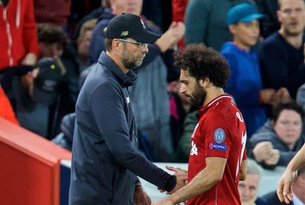 LIVERPOOL, ENGLAND - Tuesday, September 18, 2018: Liverpool's Mohamed Salah is substituted by manager J¸rgen Klopp during the UEFA Champions League Group C match between Liverpool FC and Paris Saint-Germain at Anfield. (Pic by David Rawcliffe/Propaganda)
