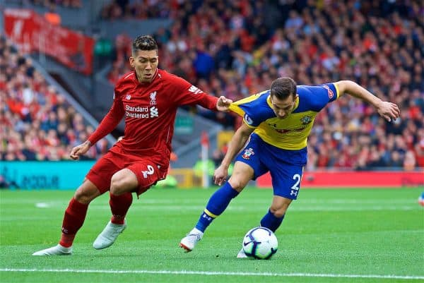 LIVERPOOL, ENGLAND - Saturday, September 22, 2018: Liverpool's Roberto Firmino and Southampton's Cedric Soares during the FA Premier League match between Liverpool FC and Southampton FC at Anfield. (Pic by Jon Super/Propaganda)
