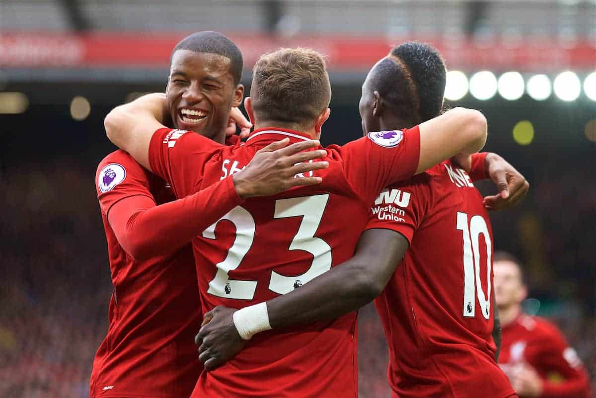 LIVERPOOL, ENGLAND - Saturday, September 22, 2018: Liverpool's Xherdan Shaqiri (#23) celebrates with team-mates Georginio Wijnaldum (left) and Sadio Mane (right) after creating the first goal, an own goal by Wesley Hoedt, during the FA Premier League match between Liverpool FC and Southampton FC at Anfield. (Pic by Jon Super/Propaganda)