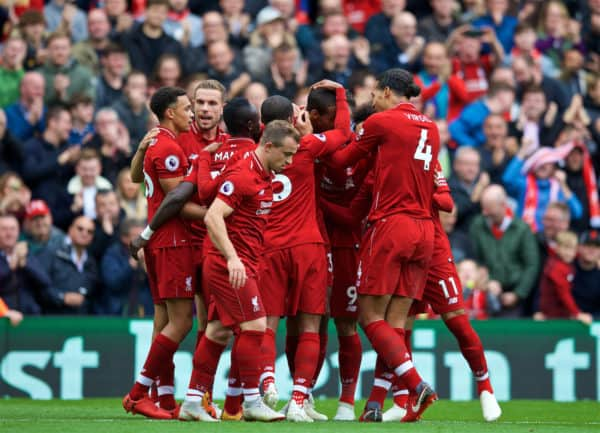 LIVERPOOL, ENGLAND - Saturday, September 22, 2018: Liverpool's Joel Matip (3rd from right) celebrates scoring the second goal with team-mates during the FA Premier League match between Liverpool FC and Southampton FC at Anfield. (Pic by Jon Super/Propaganda)