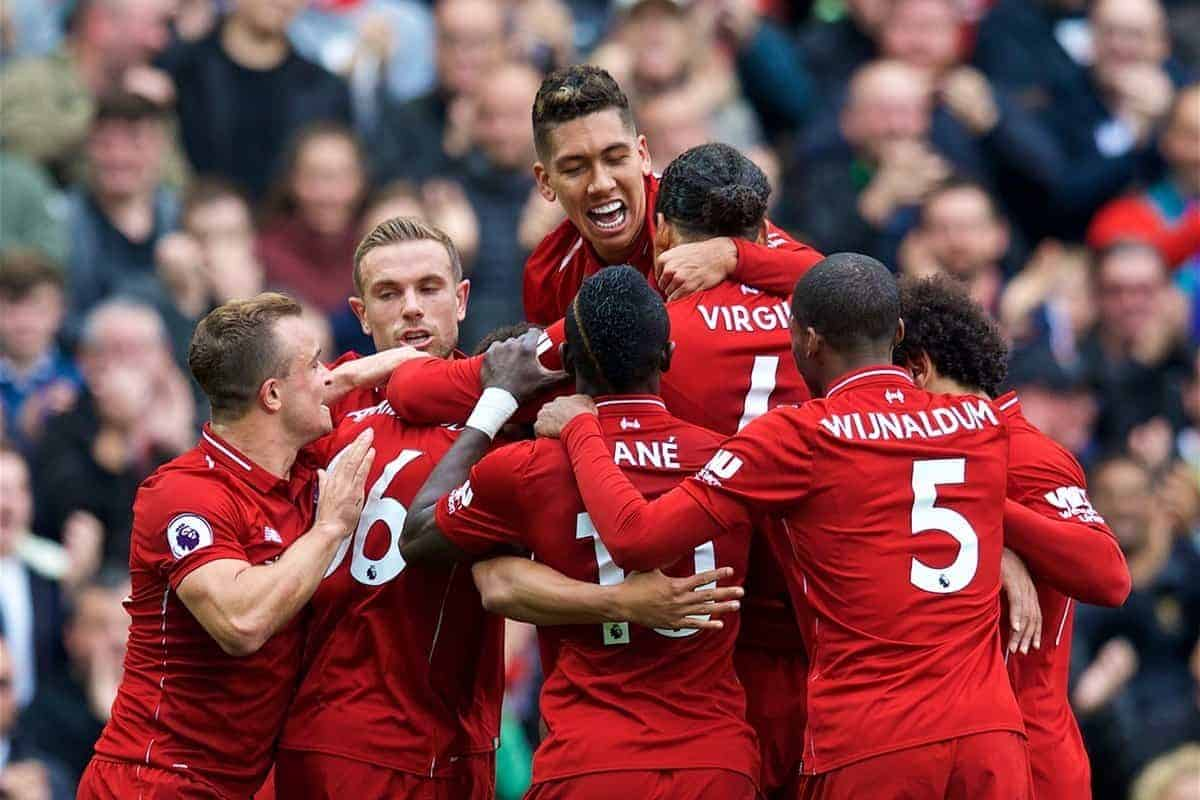LIVERPOOL, ENGLAND - Saturday, September 22, 2018: Liverpool players celebrate with Joel Matip (hidden) after he scored the second goal during the FA Premier League match between Liverpool FC and Southampton FC at Anfield. (Pic by Jon Super/Propaganda)