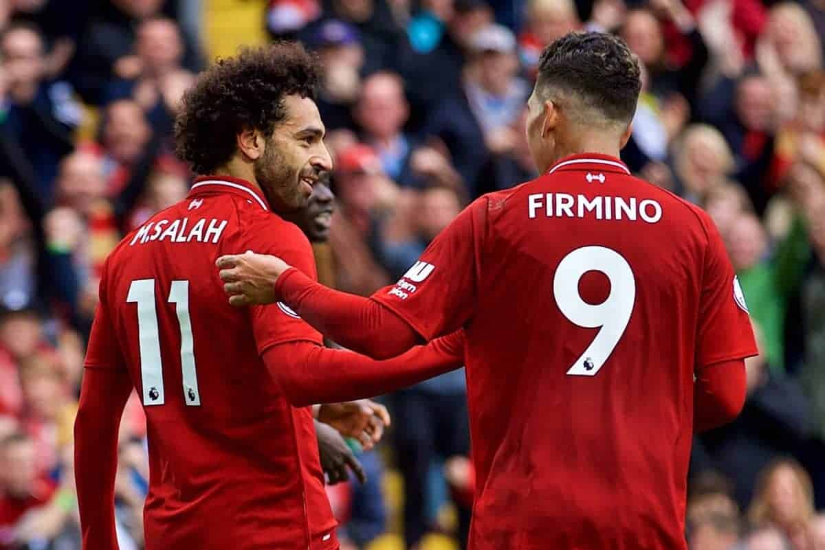LIVERPOOL, ENGLAND - Saturday, September 22, 2018: Liverpool's Mohamed Salah (#11) celebrates scoring the third goal with team-mate Roberto Firmino during the FA Premier League match between Liverpool FC and Southampton FC at Anfield. (Pic by Jon Super/Propaganda)