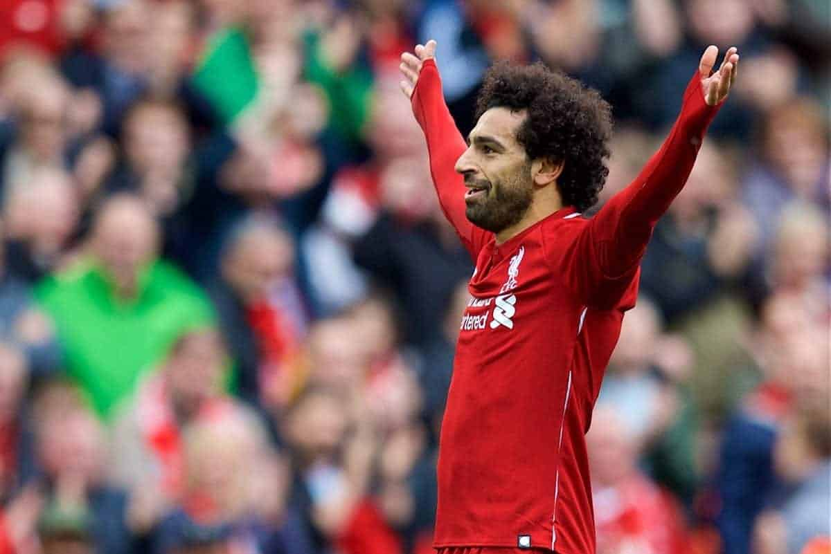 LIVERPOOL, ENGLAND - Saturday, September 22, 2018: Liverpool's Mohamed Salah celebrates scoring the third goal during the FA Premier League match between Liverpool FC and Southampton FC at Anfield. (Pic by Jon Super/Propaganda)