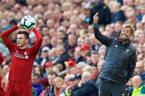 LIVERPOOL, ENGLAND - Saturday, September 22, 2018: Liverpool's manager Jürgen Klopp reacts as Andy Robertson takes a throw-in during the FA Premier League match between Liverpool FC and Southampton FC at Anfield. (Pic by Jon Super/Propaganda)