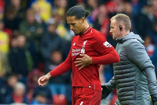 LIVERPOOL, ENGLAND - Saturday, September 22, 2018: Liverpool's Virgil van Dijk walks off with an injury during the FA Premier League match between Liverpool FC and Southampton FC at Anfield. (Pic by Jon Super/Propaganda)