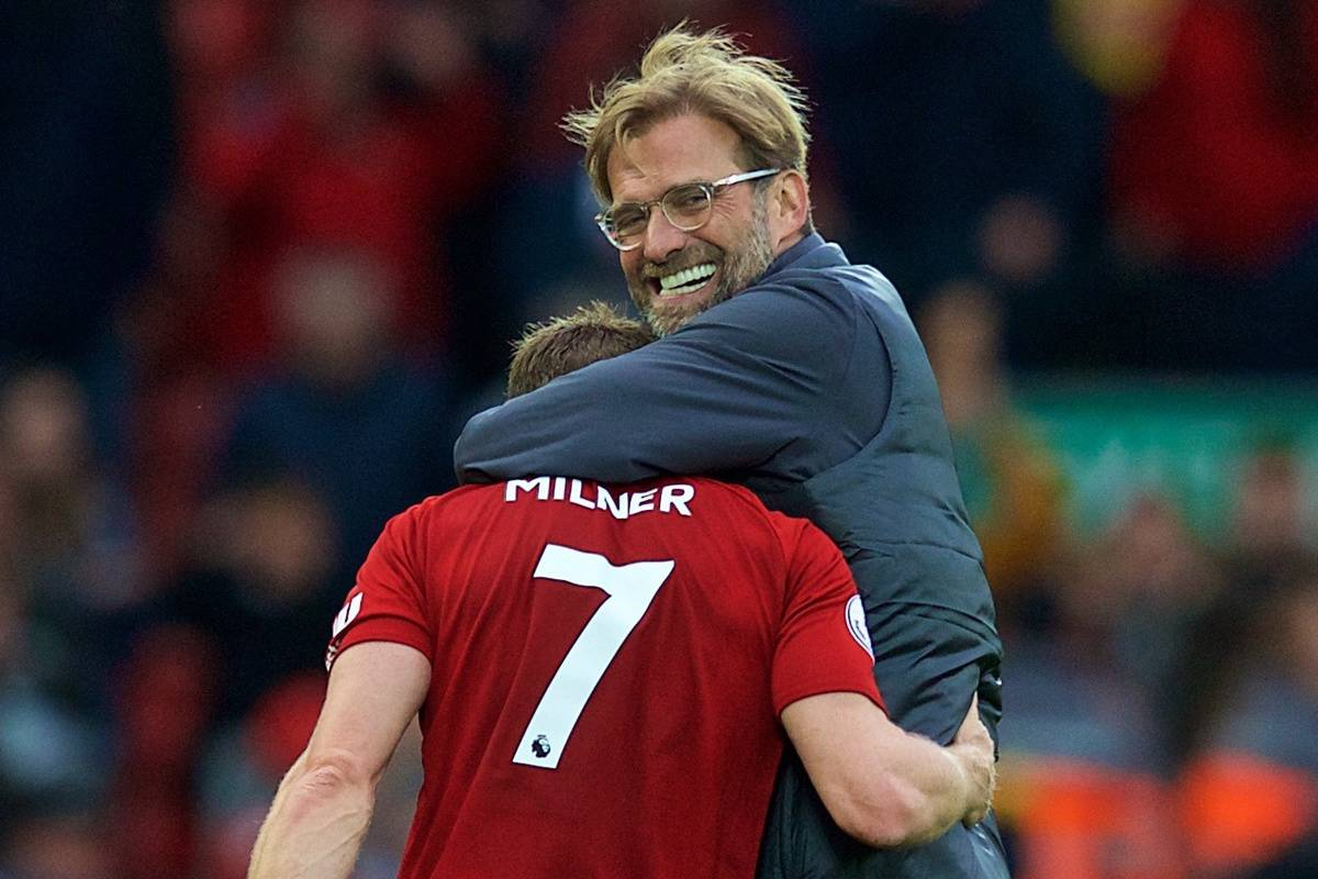 LIVERPOOL, ENGLAND - Saturday, September 22, 2018: Liverpool's manager J¸rgen Klopp hugs substitute James Milner after the FA Premier League match between Liverpool FC and Southampton FC at Anfield. Liverpool won 3-0. (Pic by Jon Super/Propaganda)