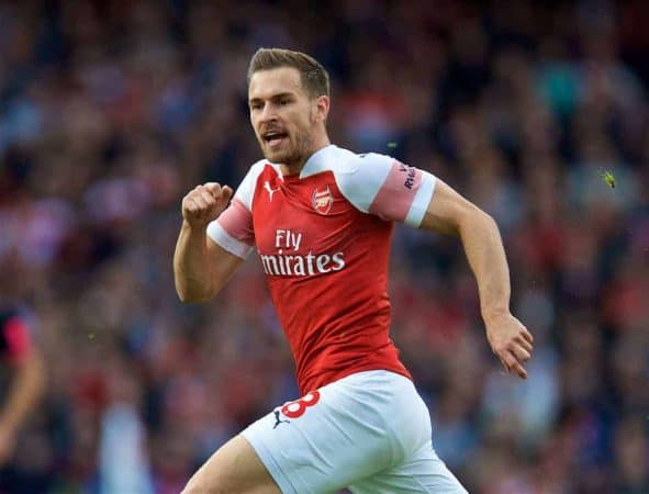 London, ENGLAND - Sunday, September 23, 2018: Arsenal's Aaron Ramsey during the FA Premier League match between Arsenal FC and Everton FC at the Emirates Stadium. (Pic by David Rawcliffe/Propaganda)