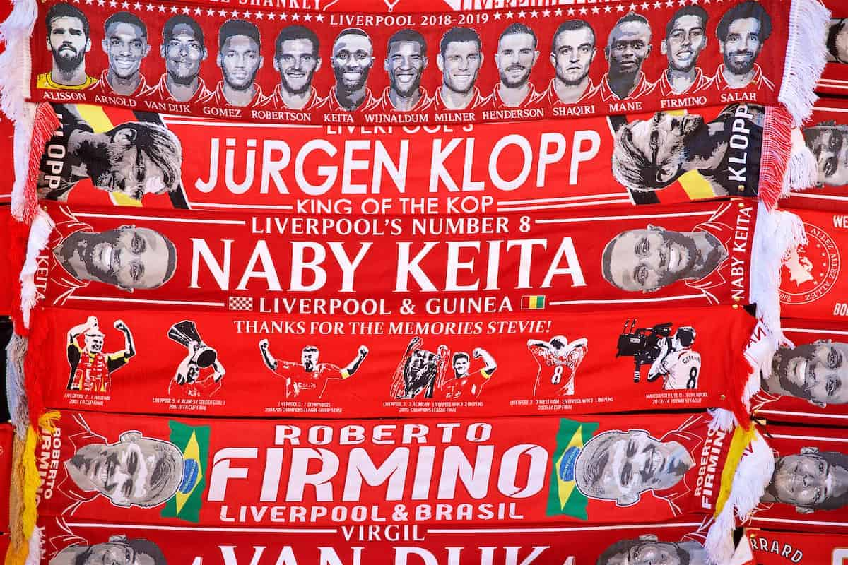 General, Anfield, matchday. scarves (Pic by David Rawcliffe/Propaganda)
