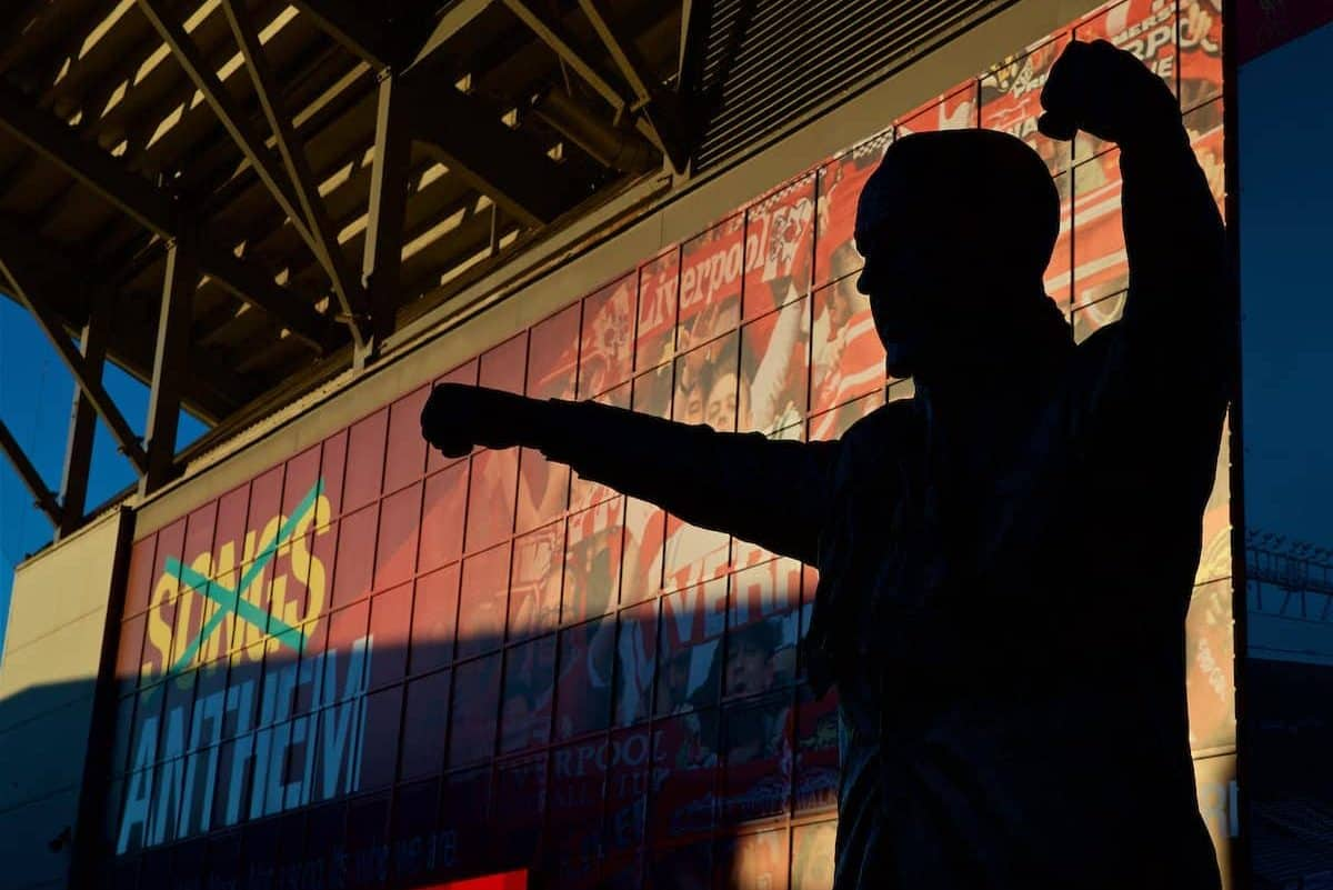 General, Anfield, matchday. Bill Shankly Statue (Pic by David Rawcliffe/Propaganda)