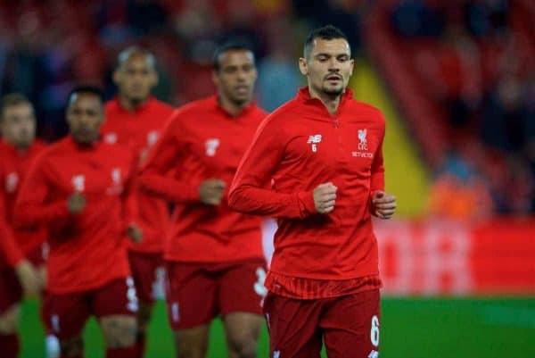 LIVERPOOL, ENGLAND - Wednesday, September 26, 2018: Liverpool's Dejan Lovren during the pre-match warm-up before the Football League Cup 3rd Round match between Liverpool FC and Chelsea FC at Anfield. (Pic by David Rawcliffe/Propaganda)