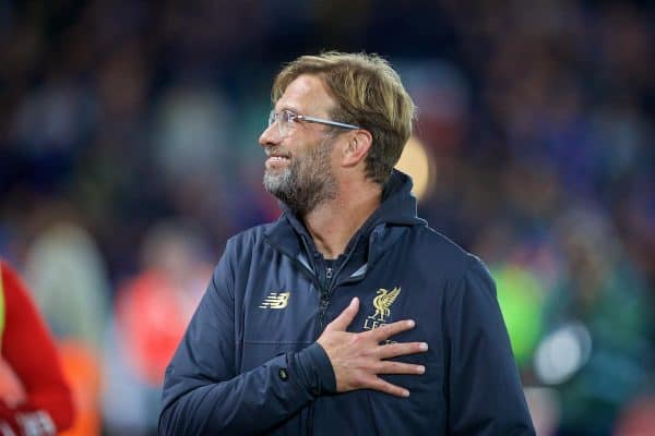 LIVERPOOL, ENGLAND - Wednesday, September 26, 2018: Liverpool's manager Jürgen Klopp during the Football League Cup 3rd Round match between Liverpool FC and Chelsea FC at Anfield. (Pic by David Rawcliffe/Propaganda)