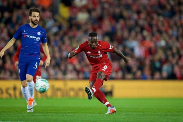 LIVERPOOL, ENGLAND - Wednesday, September 26, 2018: Liverpool's Naby Keita during the Football League Cup 3rd Round match between Liverpool FC and Chelsea FC at Anfield. (Pic by David Rawcliffe/Propaganda)