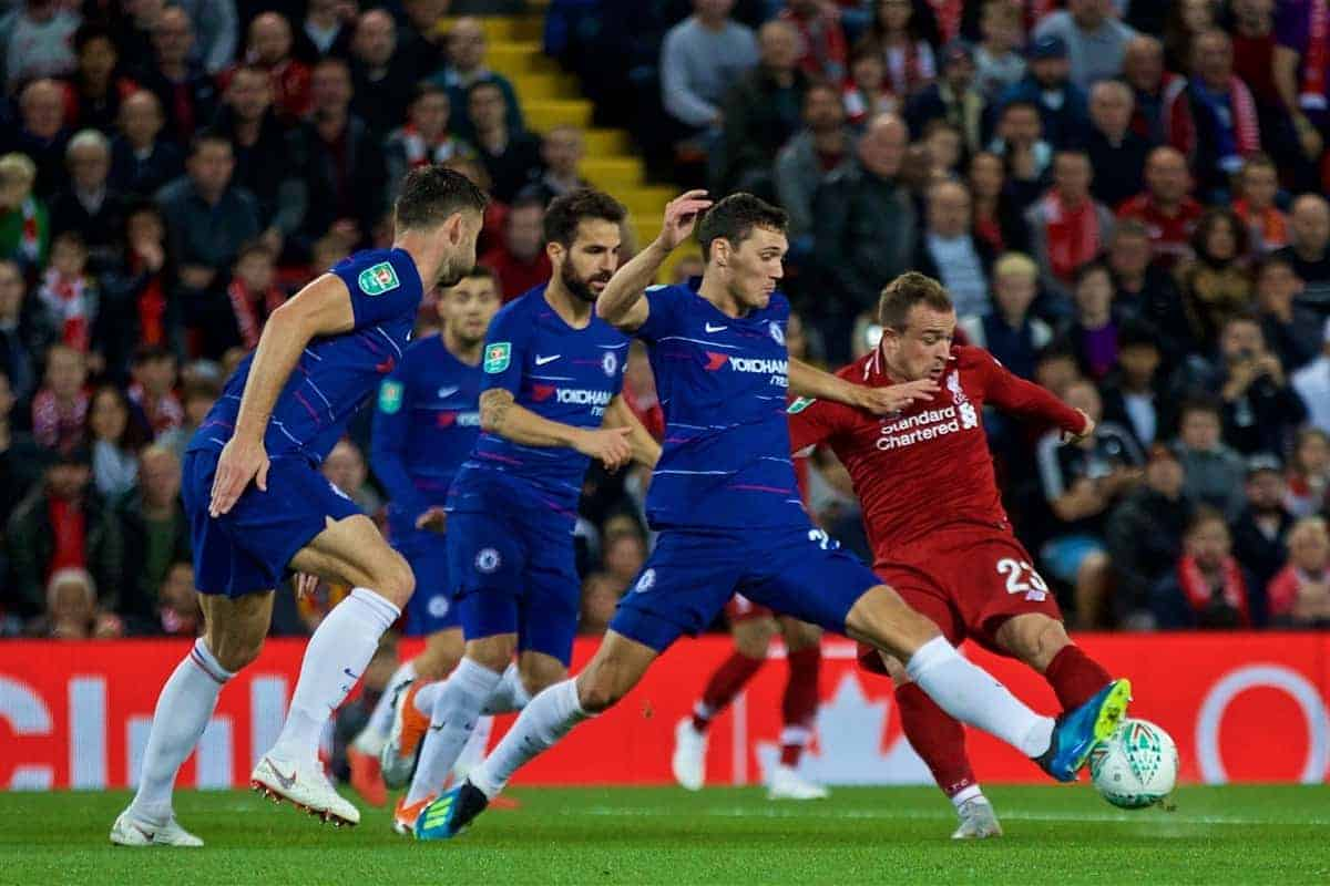 LIVERPOOL, ENGLAND - Wednesday, September 26, 2018: Liverpool's Xherdan Shaqiri during the Football League Cup 3rd Round match between Liverpool FC and Chelsea FC at Anfield. (Pic by David Rawcliffe/Propaganda)