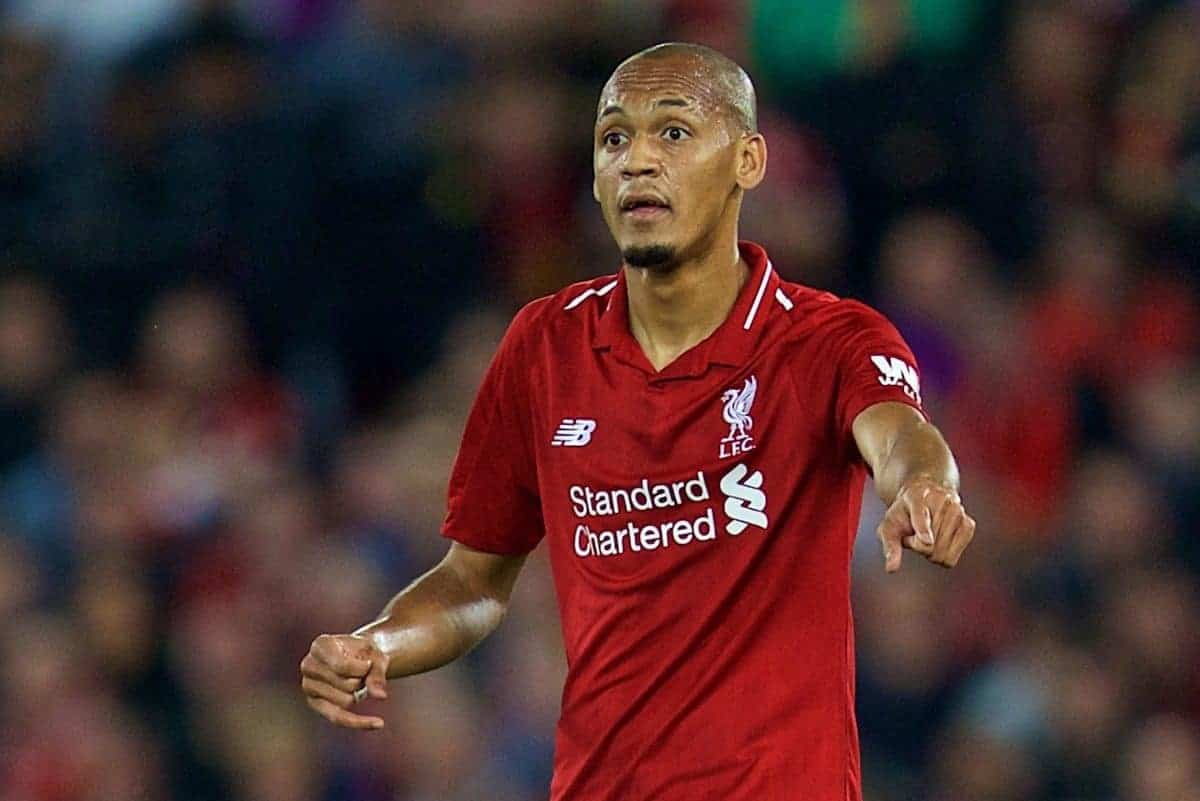 LIVERPOOL, ENGLAND - Wednesday, September 26, 2018: Liverpool's Fabio Henrique Tavares 'Fabinho' during the Football League Cup 3rd Round match between Liverpool FC and Chelsea FC at Anfield. (Pic by David Rawcliffe/Propaganda)