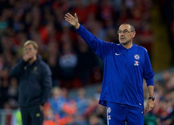 LIVERPOOL, ENGLAND - Wednesday, September 26, 2018: Chelsea's manager Maurizio Sarri during the Football League Cup 3rd Round match between Liverpool FC and Chelsea FC at Anfield. (Pic by David Rawcliffe/Propaganda)