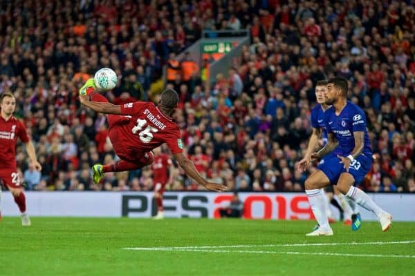 LIVERPOOL, ENGLAND - Wednesday, September 26, 2018: Liverpool's Daniel Sturridge scores the first goal during the Football League Cup 3rd Round match between Liverpool FC and Chelsea FC at Anfield. (Pic by David Rawcliffe/Propaganda)
