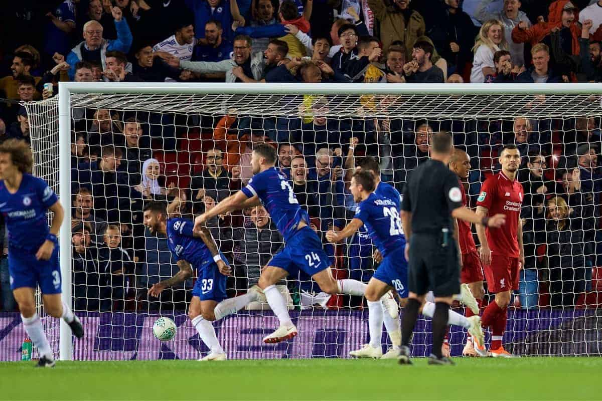 LIVERPOOL, ENGLAND - Wednesday, September 26, 2018: Chelsea's Emerson Palmieri dos Santos celebrates scoring the equalising goal during the Football League Cup 3rd Round match between Liverpool FC and Chelsea FC at Anfield. (Pic by David Rawcliffe/Propaganda)