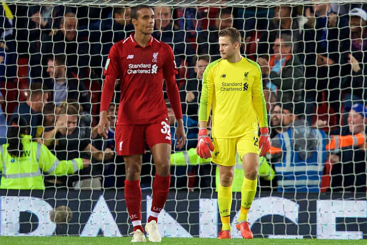 LIVERPOOL, ENGLAND - Wednesday, September 26, 2018: Liverpool's Joel Matip and goalkeeper Simon Mignolet look dejected during the Football League Cup 3rd Round match between Liverpool FC and Chelsea FC at Anfield. (Pic by David Rawcliffe/Propaganda)