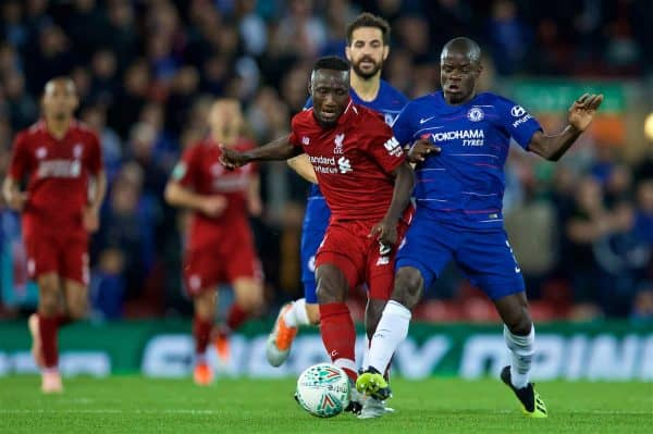 LIVERPOOL, ENGLAND - Wednesday, September 26, 2018: Liverpool's Naby Keita (left) and Chelsea's N'Golo Kante during the Football League Cup 3rd Round match between Liverpool FC and Chelsea FC at Anfield. (Pic by David Rawcliffe/Propaganda)