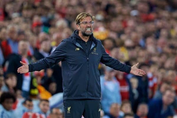 LIVERPOOL, ENGLAND - Wednesday, September 26, 2018: Liverpool's manager J¸rgen Klopp reacts during the Football League Cup 3rd Round match between Liverpool FC and Chelsea FC at Anfield. (Pic by David Rawcliffe/Propaganda)