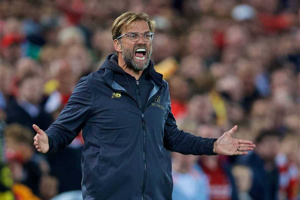 LIVERPOOL, ENGLAND - Wednesday, September 26, 2018: Liverpool's manager Jürgen Klopp reacts during the Football League Cup 3rd Round match between Liverpool FC and Chelsea FC at Anfield. (Pic by David Rawcliffe/Propaganda)