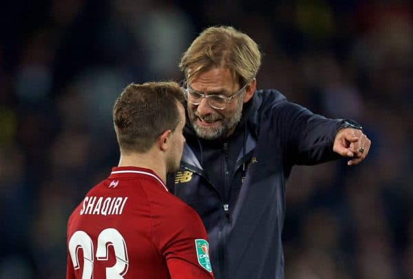 LIVERPOOL, ENGLAND - Wednesday, September 26, 2018: Liverpool's manager J¸rgen Klopp speaks with Xherdan Shaqiri after the Football League Cup 3rd Round match between Liverpool FC and Chelsea FC at Anfield. Chelsea won 2-1. (Pic by David Rawcliffe/Propaganda)