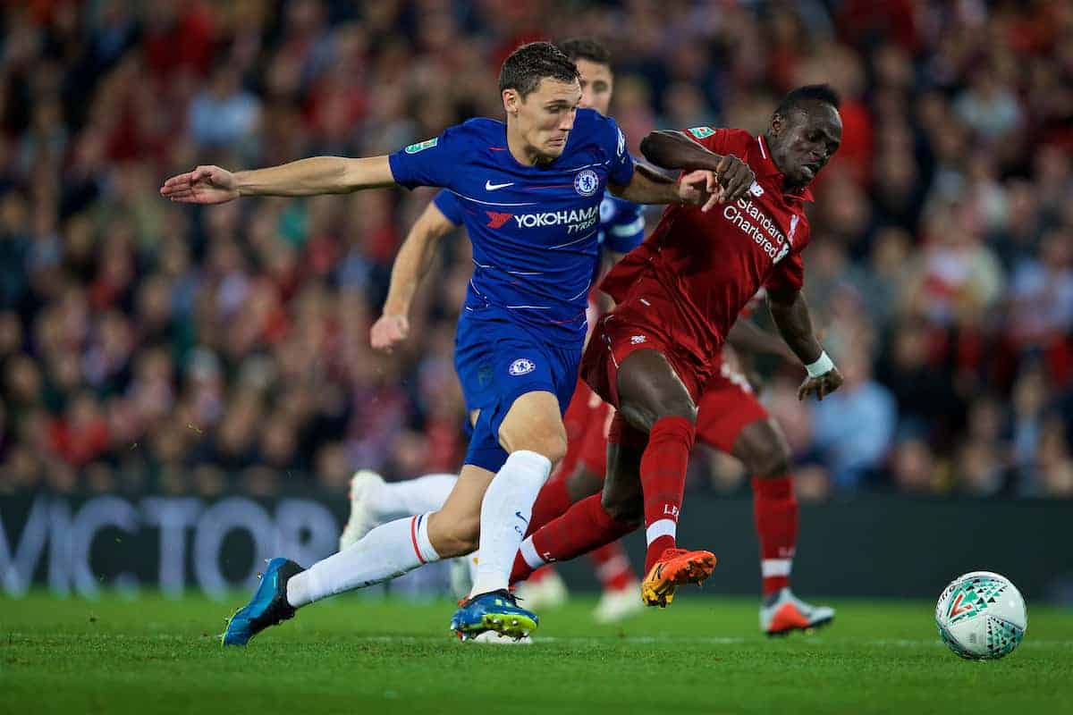 LIVERPOOL, ENGLAND - Wednesday, September 26, 2018: Liverpool's Sadio Mane (right) and Chelsea's Andreas Christensen during the Football League Cup 3rd Round match between Liverpool FC and Chelsea FC at Anfield. (Pic by David Rawcliffe/Propaganda)